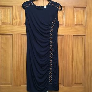 Cache Navy Blue Laced Detail Form Fitting Dress